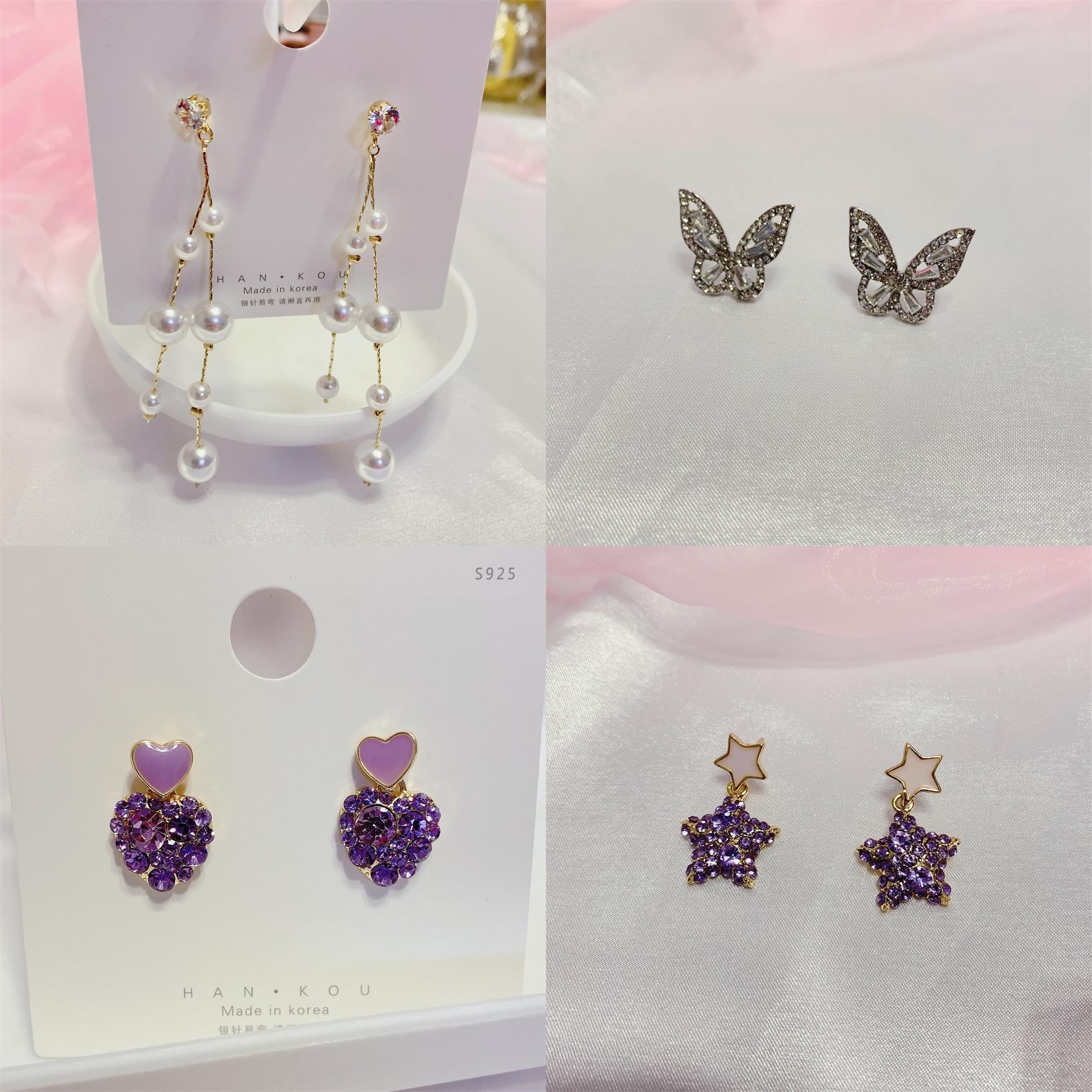 Cute baby jewelry style Purple Diamond Star love pearl simple long personality Earrings