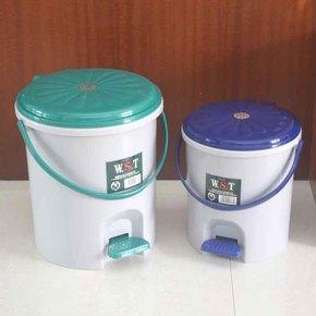 圆形塑料卫生桶5.5L大小号脚踏翻盖家用垃圾桶收纳筒带内桶