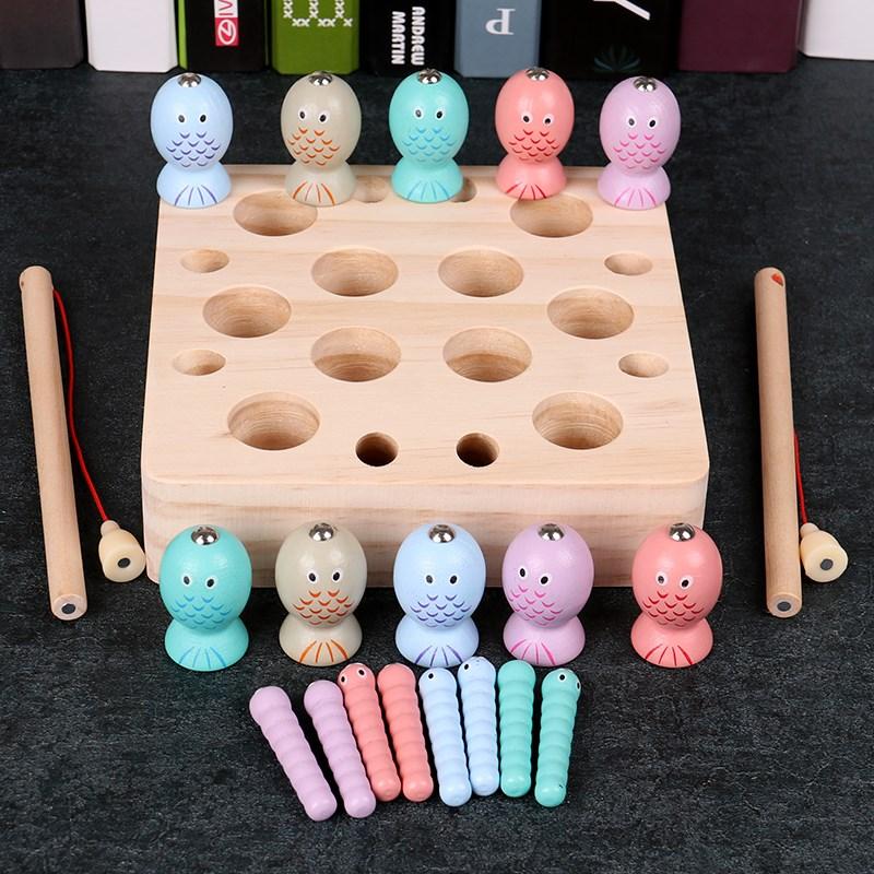 蒙特梭利宝宝磁性精细化益智早教玩具手眼钓鱼协调1-3一2岁男女孩