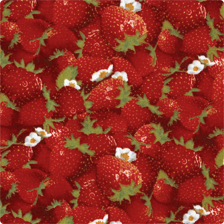 Japan imported red strawberry fruit cotton assorted cloth hand made DIY garment shirt dress