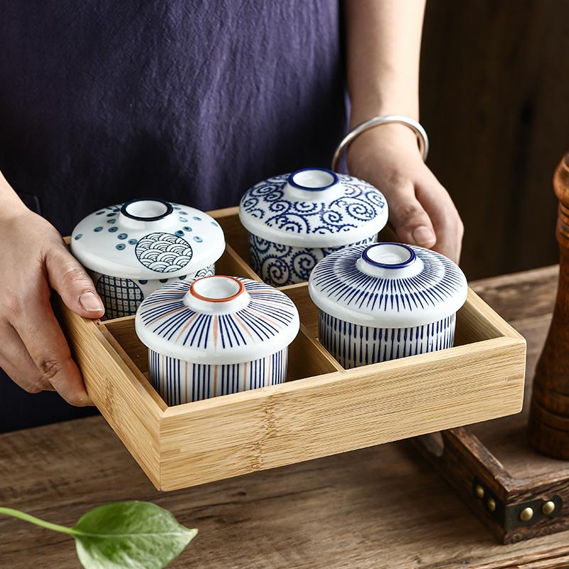 日式陶瓷小汤盅带盖炖盅炖碗宝宝蒸蛋碗盖碗隔水炖创意蛋盅甜品盅