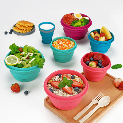 Food grade silicone folding bowl picnic supplies travel portable silicone baby tableware instant noodle bowl retractable high temperature resistant