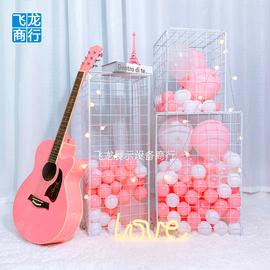 网红海洋球铁网格立方体柱泡面小堂婚庆布置餐厅奶茶店橱窗装饰图片