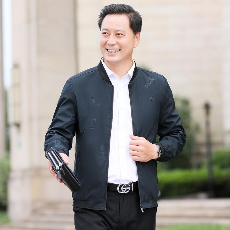 新款男士外套春秋款中老年休闲商务夹克男立领上衣服韩版男装潮
