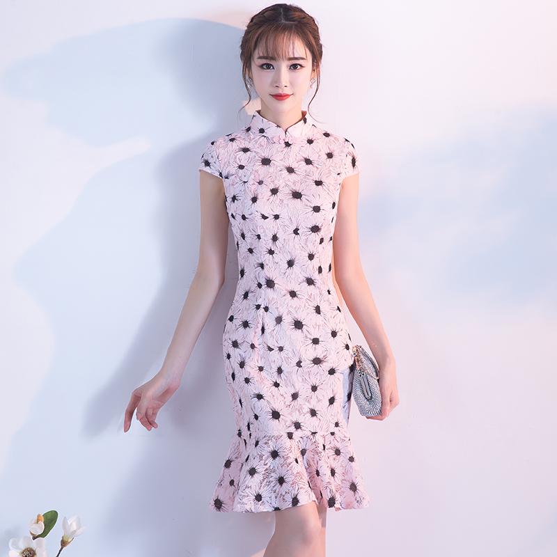 改良版旗袍少女2018新款春夏季鱼尾修身短款学生派对小礼服连衣裙