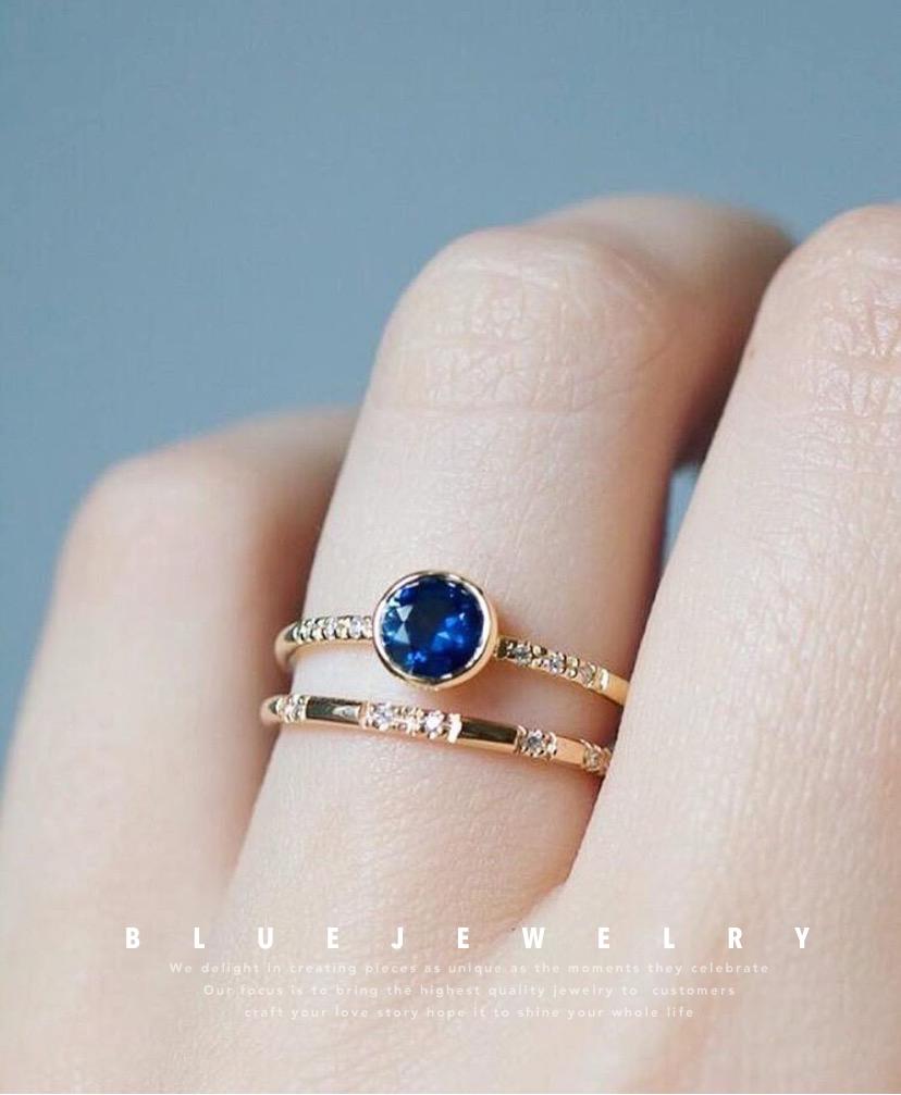 蓝色珠宝定制蓝宝石戒指项链18k金