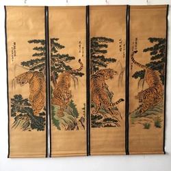 四联壁画山水人物客厅装饰挂画仿真名人古字画仿古做旧中式卷轴画