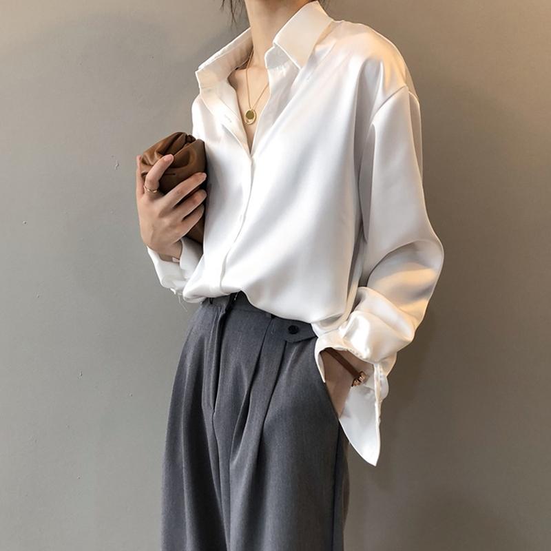 2020新款春秋复古港风垂感衬衣女设计感小众上衣丝绸缎面雪纺衬衫