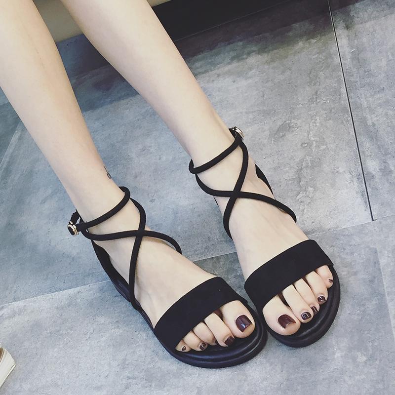 韩版低跟凉鞋女夏2017新款交叉绑带复古罗马鞋一字扣学生平底女鞋