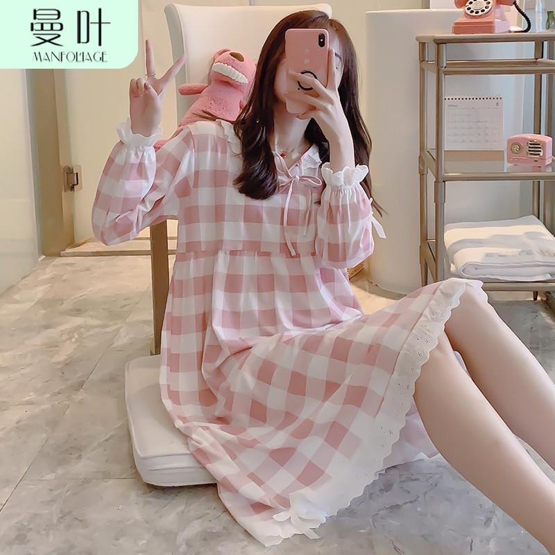 长袖公主风纯棉可爱学生可出门睡裙(用100元券)