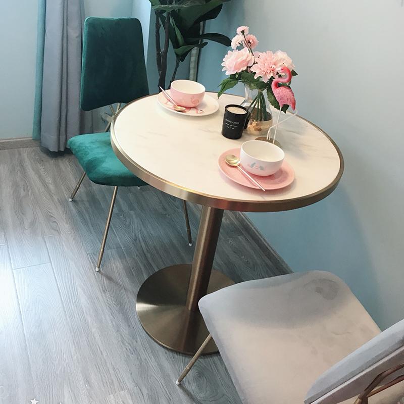 券后88.00元北欧铁艺现代简约圆形大理石餐桌