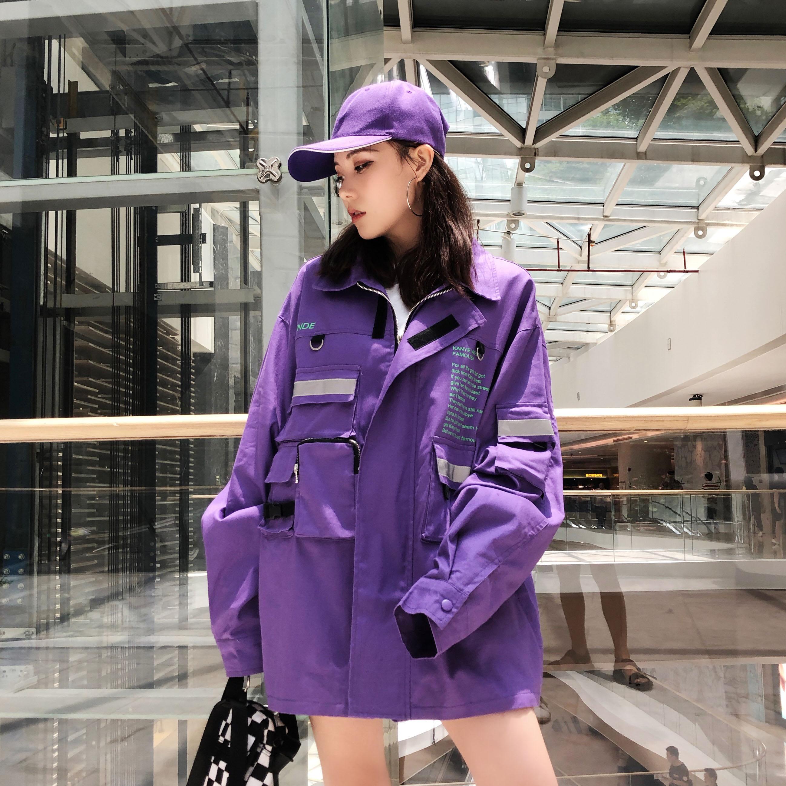 欧美嘻哈外套女春秋韩版学生bf原宿宽松港风社会风女装夹克外套潮