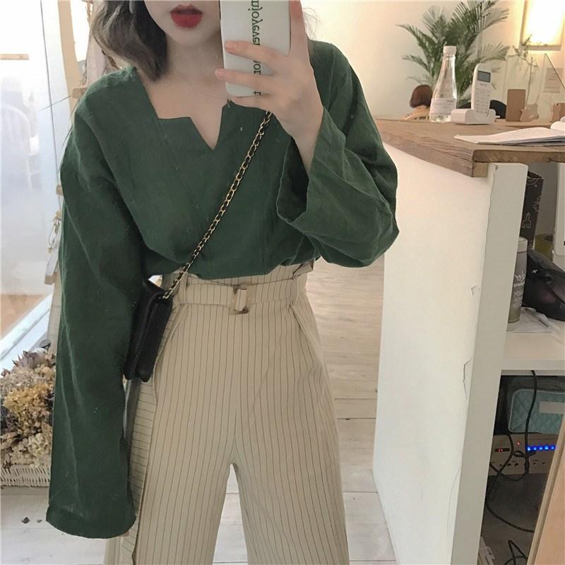 复古风chic简约棉麻V领宽松衬衣+显瘦高腰条纹系带方扣休闲裤套装