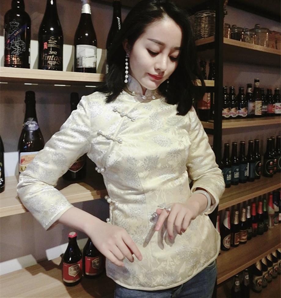秋冬显瘦刘美人刘钰懿同款日常改良加厚香槟色银丝旗袍短款小棉袄