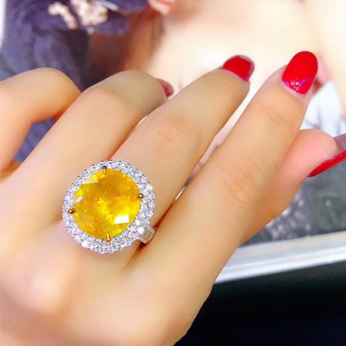 Baiyi jewelry 10.23 carat canary yellow sapphire ring pendant double use to attract wealth and good luck