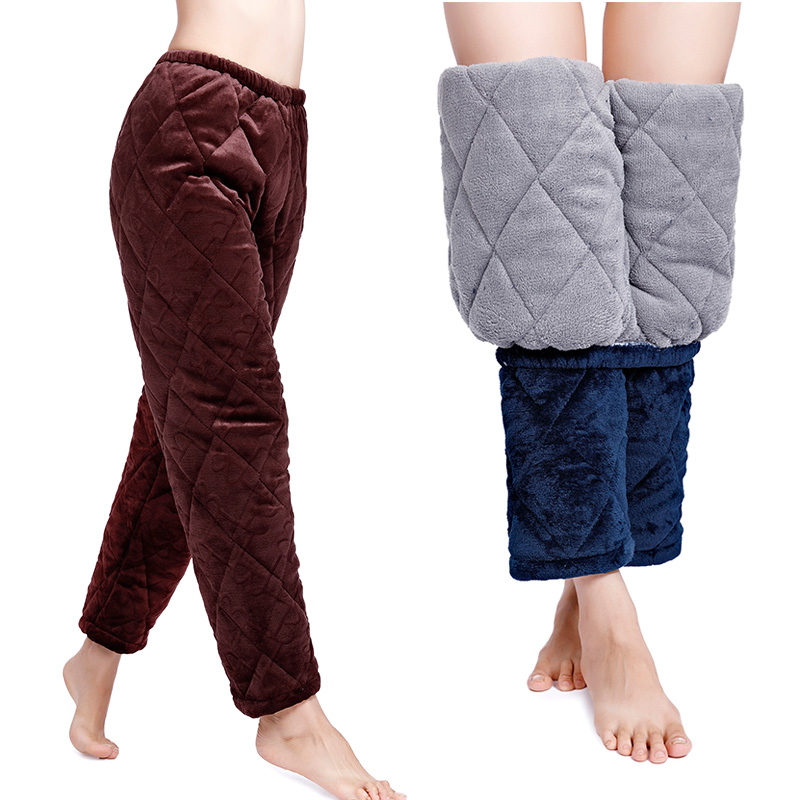 Plush cotton pants for womens winter wear three layers of thickened coral cashmere pajamas with cotton home Pants Plus Size cotton pants