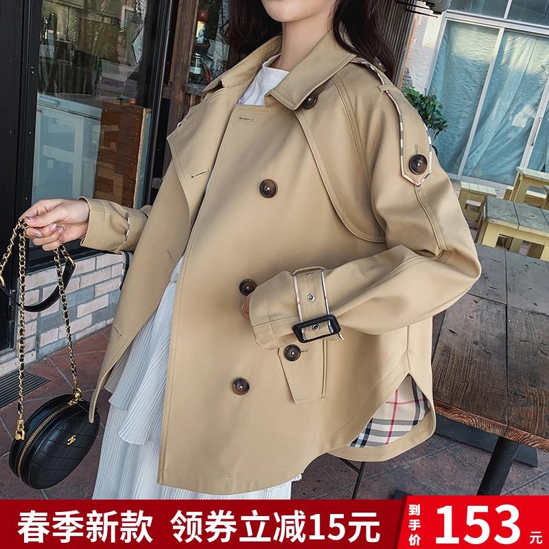 卡其色风衣女2020春秋新款韩版宽松小香风气质短款矮个子英伦外套