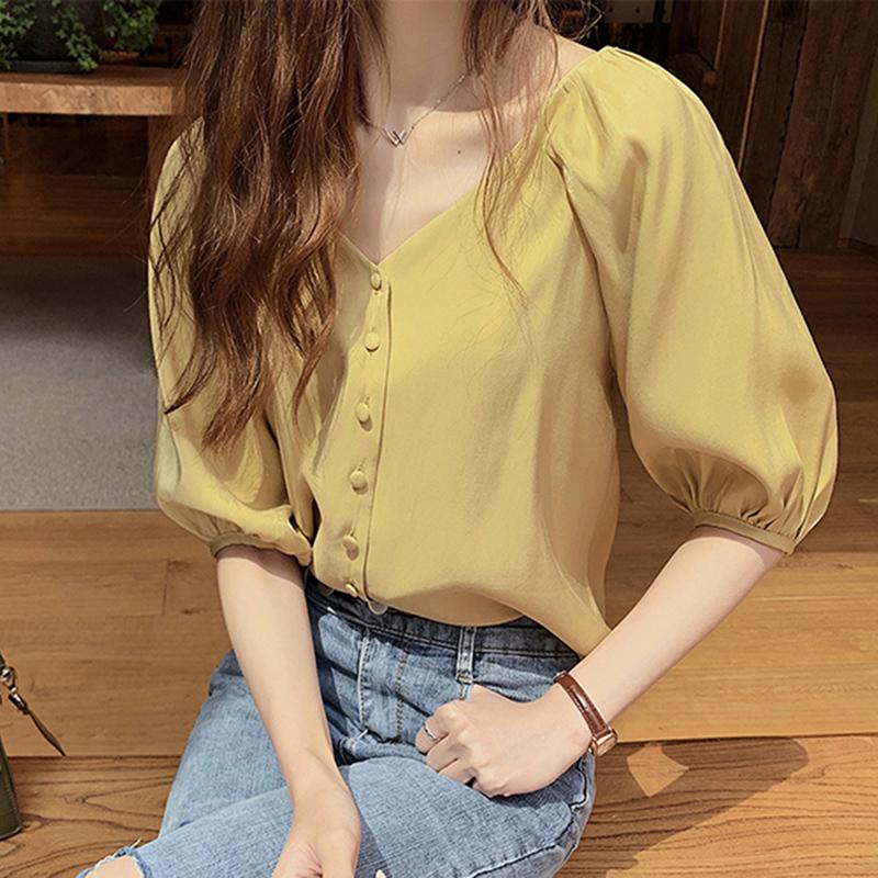 衬衫很仙收腰设计感小众心机短袖雪纺上衣女洋气超仙网红2019新款
