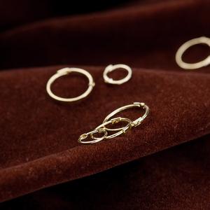 领5元券购买韩国纯简约纯金正品14k金耳环
