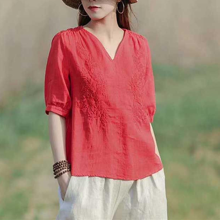 Summer New Ramie womens shirt T-shirt solid cotton short sleeve large womens V-neck embroidery loose top