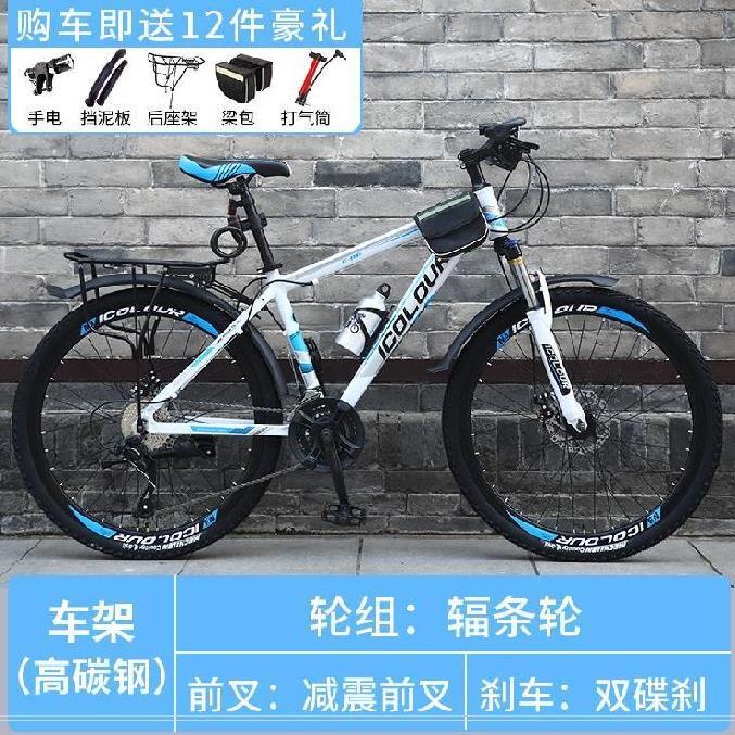 山地车女成年骑行自行车男变速可调简易22寸室内儿童男孩运动车