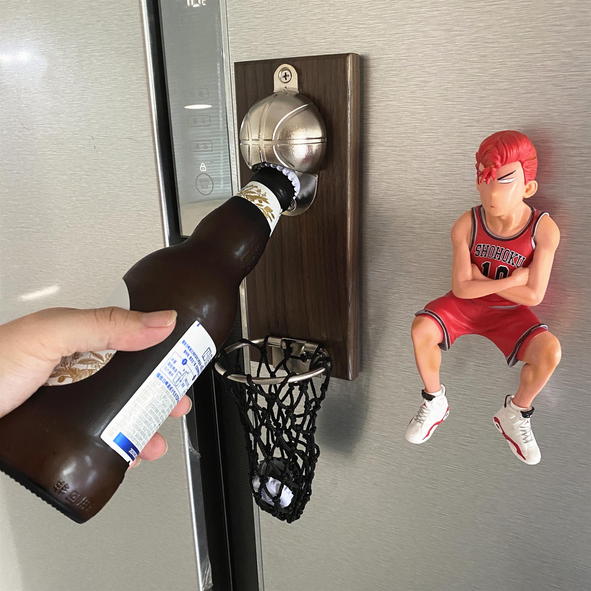 创意篮球啤酒起子冰箱贴篮筐接瓶启