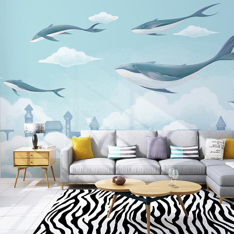 手绘蓝色海洋卡通背景墙壁纸现代简约儿童房卧室墙纸壁画天空之鱼