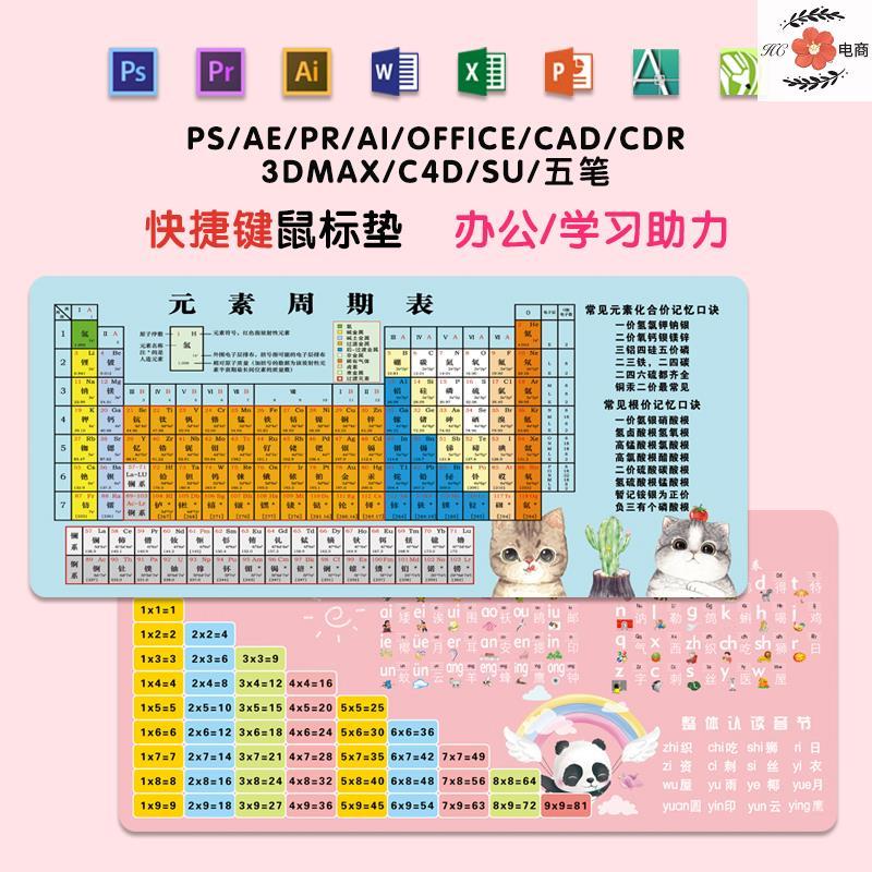 中國代購|中國批發-ibuy99|键盘|汉语拼音桌垫学生写字桌面鼠标键盘垫卡通快捷键超大元素周期表女