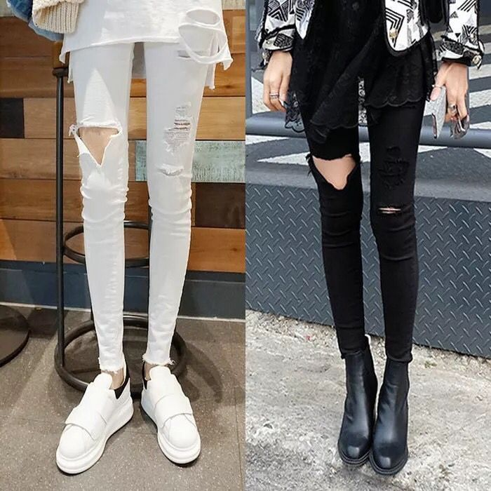 2019 new spring and autumn perforated Leggings womens Leggings wear thin black jeans with small legs