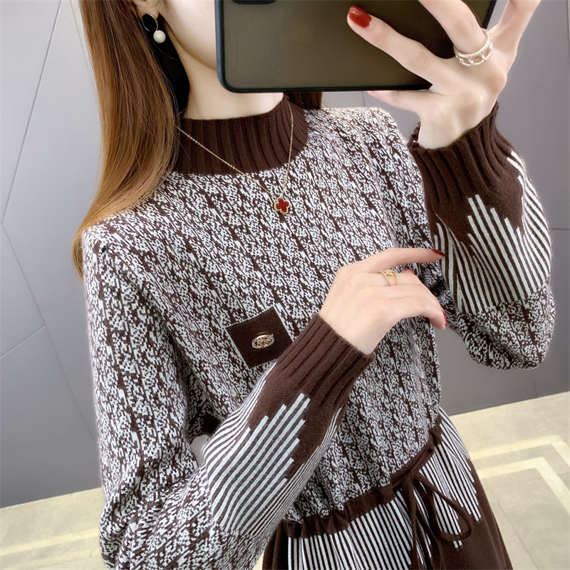 Knitted dress womens winter skirt new style thickened with backing coat medium length sweater over Knee Skirt