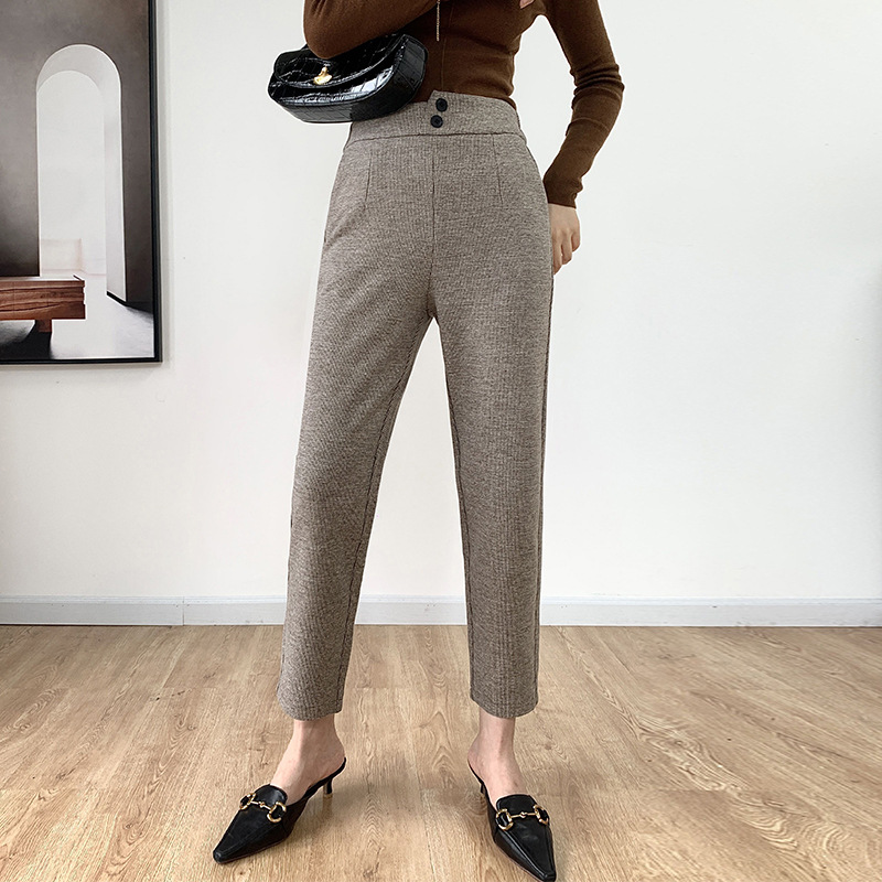 Comfortable and simple straight pants womens winter new thickened high waist and thin cashmere leisure Harem Pants wholesale