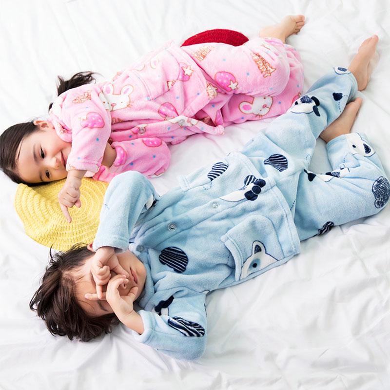 儿童法兰绒睡衣服装秋冬季男女中大童宝宝小孩家居服珊瑚绒套装
