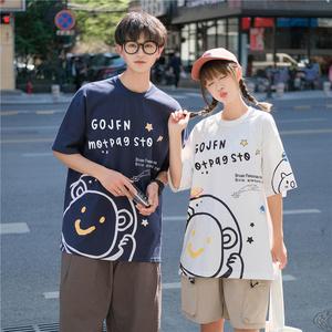 YF53397# 新款卡通印花短袖T恤原宿风宽松情侣体恤上衣班服 服装批发女装直播货源