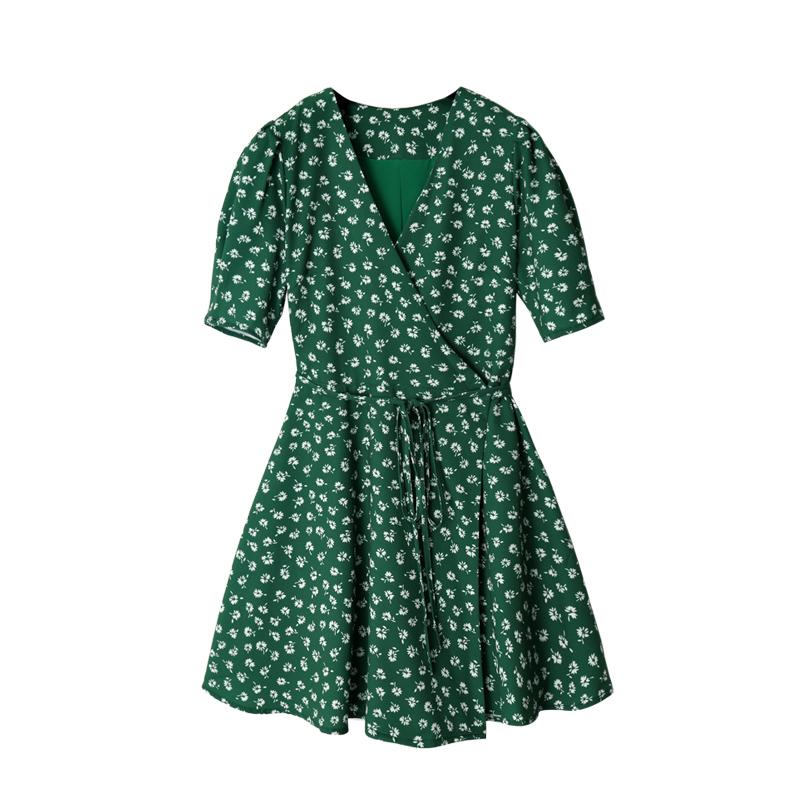 (用10元券)小宸内衬高端版复古绿色短袖女短裙