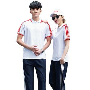 东莞夏季初中生高中学生校服纯棉短袖T恤高中学生大学生男女套装