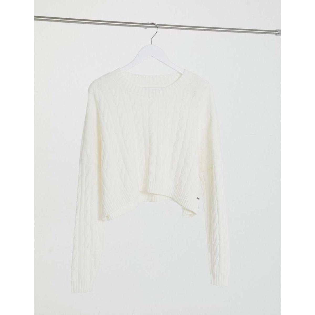 包税代购Hollister/霍利斯特女 高领麻花扭纹套头衫白色奢侈品