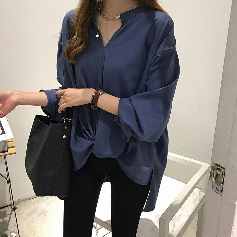 Spring and autumn womens new simple temperament chiffon shirt womens long sleeve top loose thin BF shirt bottom