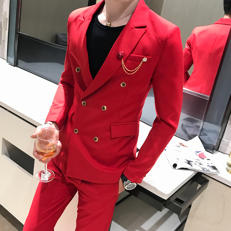 Spring and autumn net red suit mens suit fashion Korean hairdresser double breasted business suit two piece fashion