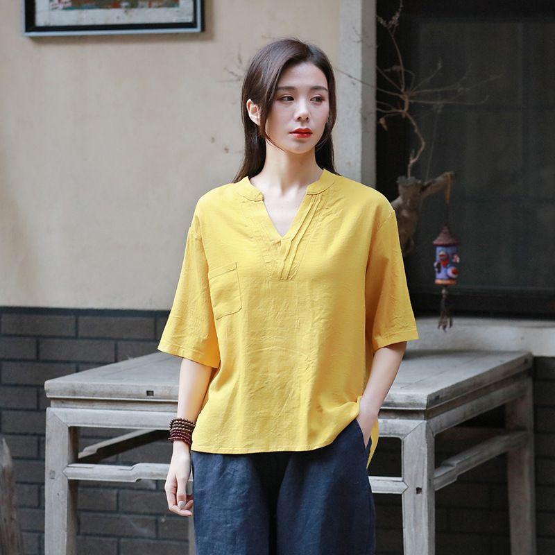 2021春夏新款棉麻女装文艺复古宽松V领短袖上衣亚麻纯色女士T恤衫
