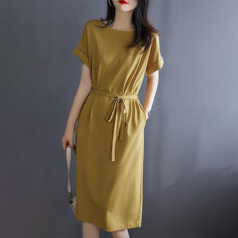 夏季新款棉质收腰连衣裙
