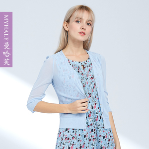 曼哈芙新款时尚短款薄款空调针织开衫修身显瘦小披肩外套薄外搭女