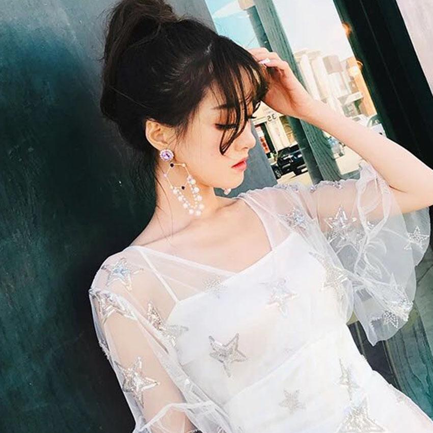 2018 new Korean version net red Lin star same fashion pearl multi-layer gem Tassel Earrings