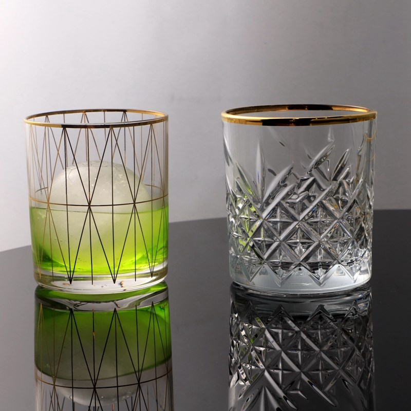 Bar utensils crystal glass tracing golden border whiskey glass water glass Cocktail Cup Nordic style coffee cup