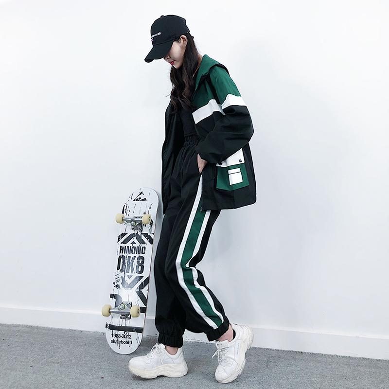 韩版宽松休闲帅气bf风工装套装女2019新款运动风两件套女装潮ins