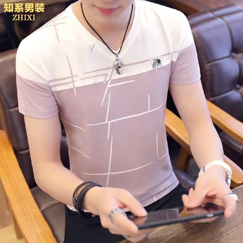 2件]夏季男士短袖t恤V领个性条纹潮流半袖韩版修身帅气夏装衣服�B