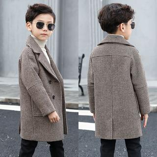 象小爸2018新款男童格子呢大衣儿童毛呢外套中大童冬装中长款加厚