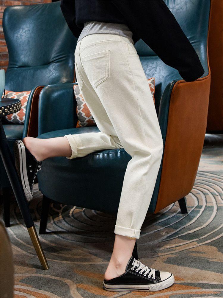 2020春秋米白色孕妇牛仔裤直筒宽松九分薄款阔腿裤高腰显瘦老爹裤