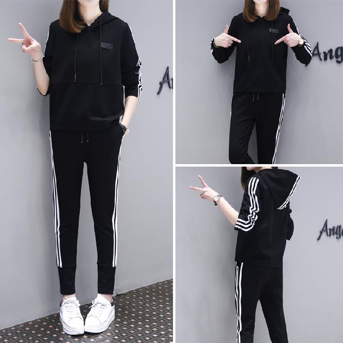 欧洲站时尚运动套装女2020春季新款韩版卫衣休闲洋气时髦两件套潮