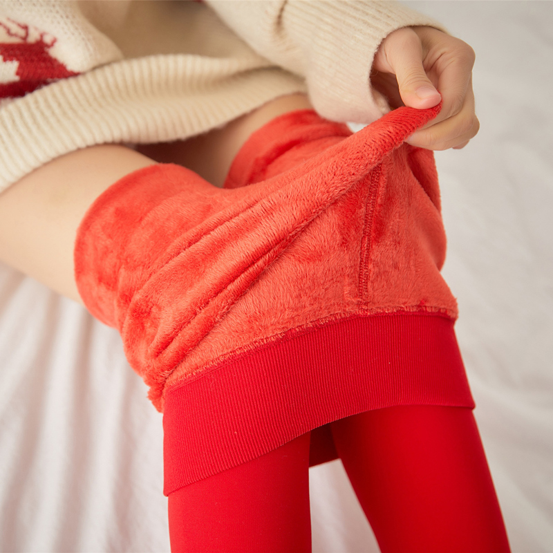 红色打底裤女结婚加绒加厚新娘秋冬季外穿一体裤袜本命年保暖棉裤(非品牌)