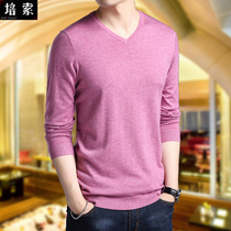T-shirt male long-sleeved large code thin sweater spring and autumn new casual men v collar T-shirt pure color bottom shirt